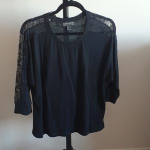 Forever 21 Plus Size Black Lace Long Sleeve Top